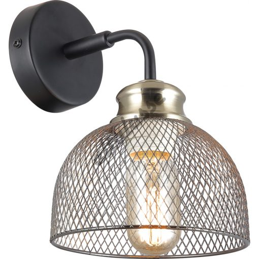 ALTALUSSE INL-6144W-01 MATT BLACK & ANTIQUE BRASS FALI LÁMPA Е27 1х40W
